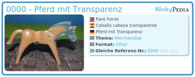Playmobil 0000 - Pferd mit Transparenz