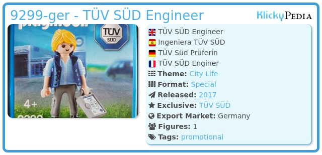 Playmobil Set: 9299-ger - TÜV SÜD Engineer - Klickypedia