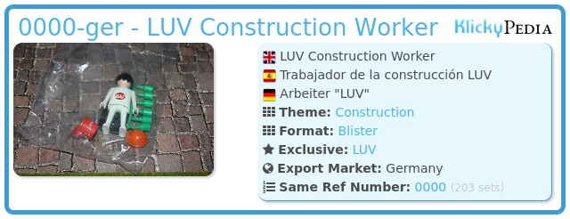 Playmobil 0000-ger - LUV Construction Worker