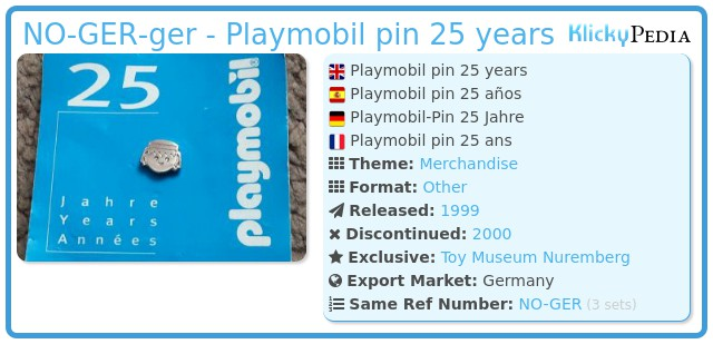 Playmobil NO-GER-ger - Playmobil pin 25 years