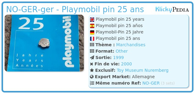 Playmobil NO-GER-ger - Playmobil pin 25 ans