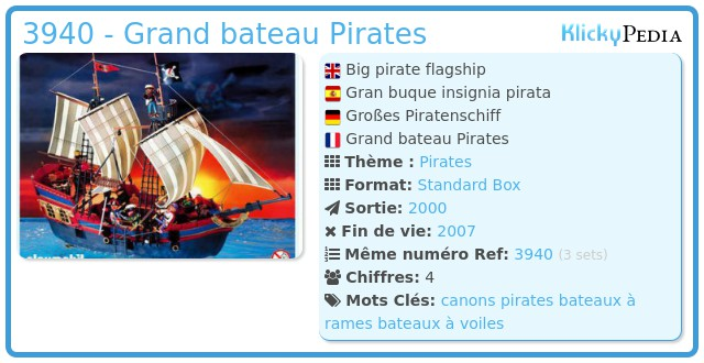 Playmobil 3940 - Grand bateau Pirates