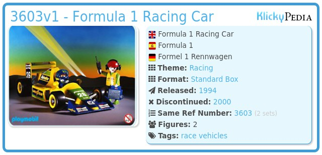 Playmobil 3603v1 - Formula 1 Racing Car