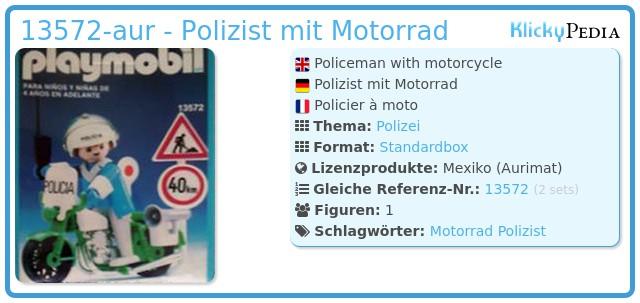 Playmobil 13572-aur - Polizist mit Motorrad