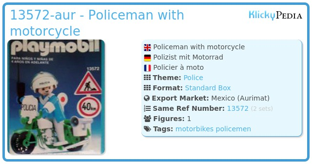 Playmobil 13572-aur - Policeman with motorcycle