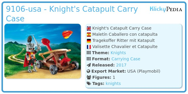 Playmobil 9106-usa - Knight's Catapult Carry Case