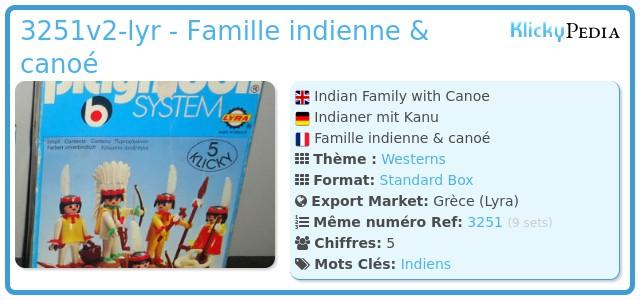 Playmobil 3251v2-lyr - Famille indienne & canoé