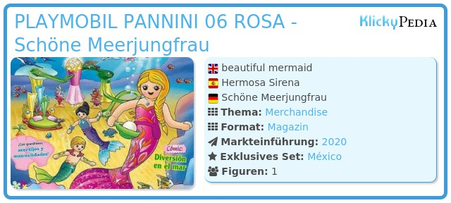 Playmobil PLAYMOBIL PANNINI 06 ROSA -  beautiful mermaid