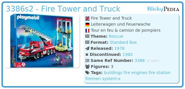 Playmobil 3386s2 - Fire Tower and Truck