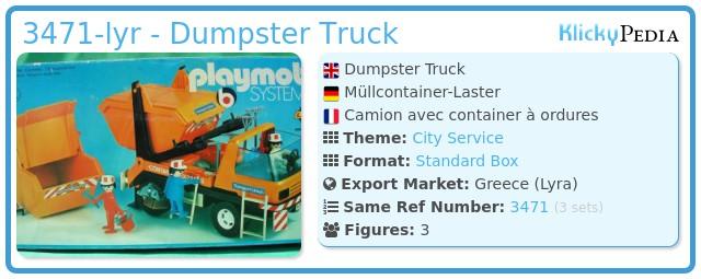 Playmobil 3471-lyr - Dumpster Truck