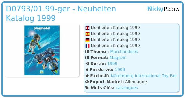 Playmobil D0793/01.99-ger - Neuheiten Katalog 1999