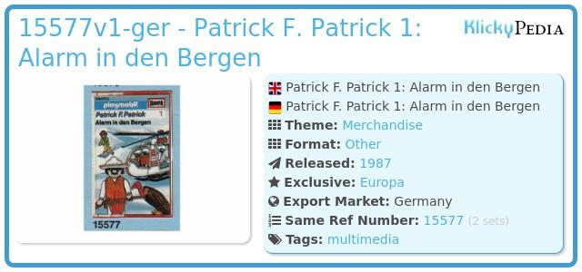 Playmobil 15577-ger - Patrick F. Patrick 1: Alarm in den Bergen