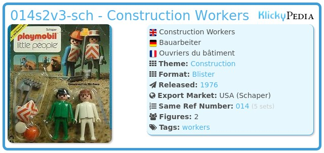 Playmobil 014s2v3-sch - Construction Workers