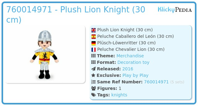 Playmobil 760014971 - Lion Knight Plush (35 cm.)