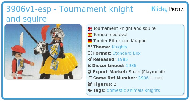 Playmobil 3906v1-esp - Tournament knight and squire