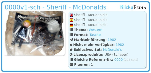 Playmobil 0000v1-sch - Sheriff - McDonalds