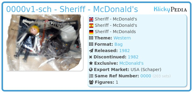 Playmobil 0000v1-sch - Sheriff - McDonald's