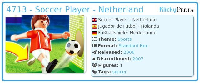 Playmobil 4713 - Soccer Player - Netherland