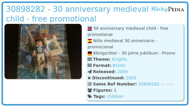 Playmobil 30898282 - 30 anniversary medieval child - free promotional