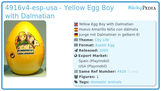 Playmobil 4916v4-esp-usa - Yellow Egg Boy with Dalmatian