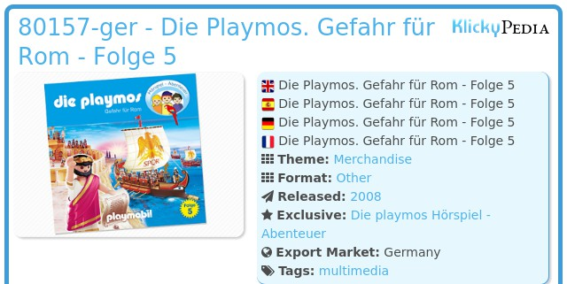 Playmobil 80157-ger - Die Playmos. Gefahr für Rom - Folge 5