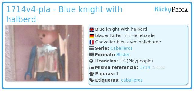 Playmobil 1714v4-pla - Blue knight with halberd