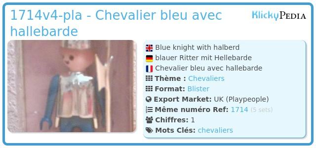 Playmobil 1714v4-pla - Chevalier bleu avec hallebarde