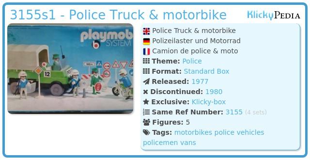 Playmobil 3155s1 - Police Truck & motorbike