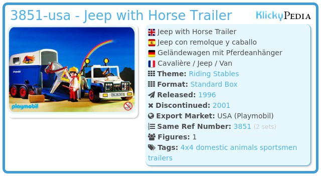 Playmobil 3851-usa - Jeep with horse trailer