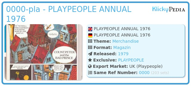 Playmobil 0000-pla - PLAYPEOPLE ANNUAL 1976