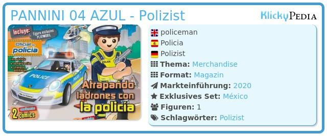 Playmobil PANNINI 04 AZUL -  policeman