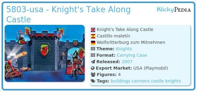 Playmobil 5803-usa - Knight's Take Along Castle