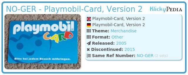 Playmobil NO-GER - Playmobil-Card, Version 2