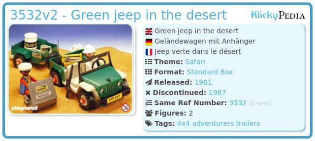 Playmobil 3532v2 - Green jeep in the desert