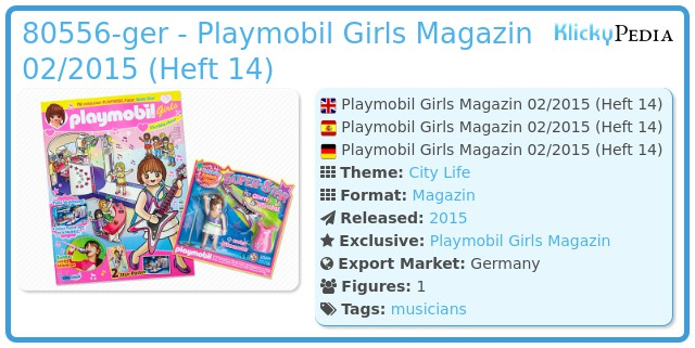 Playmobil 80556-ger - Playmobil Girls Magazin 02/2015 (Heft 14)