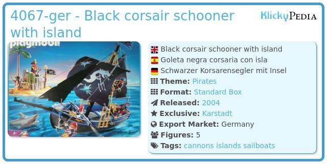 Playmobil 4067-ger - Black corsair schooner with island