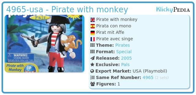 Playmobil 4965-usa - Pirate with monkey