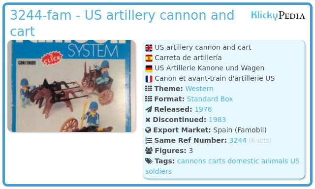 Playmobil 3244-fam - US artillery cannon and cart