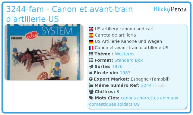 Playmobil 3244-fam - Canon et avant-train d'artillerie US