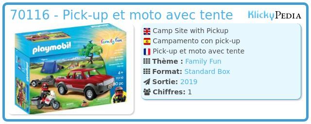 Playmobil 70116 - Pick-up et moto avec tente