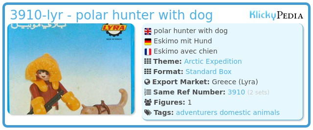Playmobil 3910-lyr - polar hunter with dog