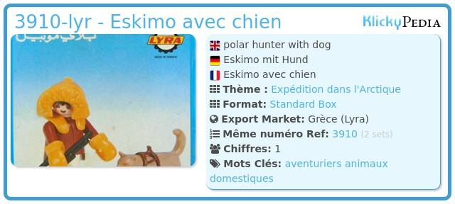 Playmobil 3910-lyr - Eskimo avec chien