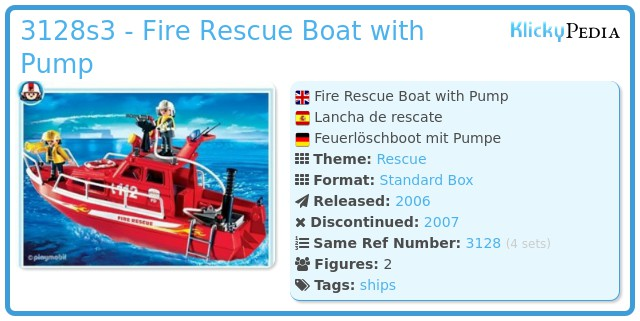 Playmobil 3128s3 - Fire Rescue Boat with Pump