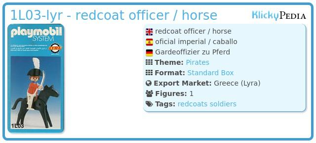 Playmobil 1L03-lyr - redcoat officer / horse
