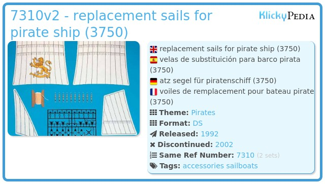 Playmobil 7310v2 - replacement sails for pirate ship (3750)