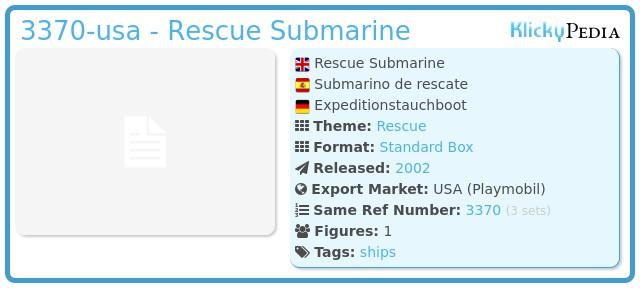 Playmobil 3370-usa - Rescue Submarine