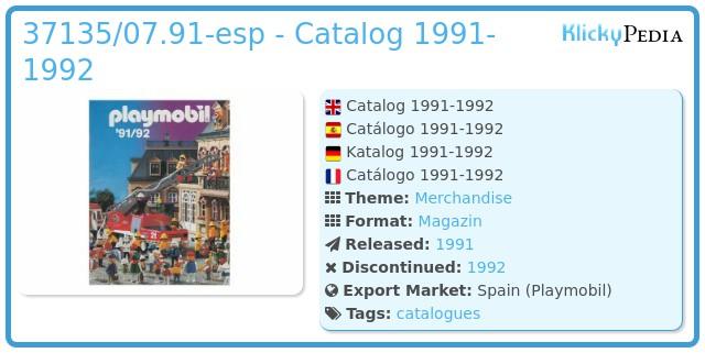 Playmobil 37135/07.91-esp - Catalog 1991-1992
