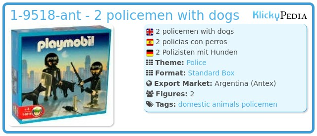 Playmobil 1-9518-ant - 2 policemen with dogs