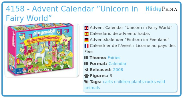 "Playmobil 4158 - Advent Calendar ""Unicorn in Fairy World"""