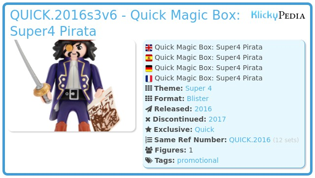Playmobil QUICK.2016s3v6 - Quick Magic Box: Super4 Pirata
